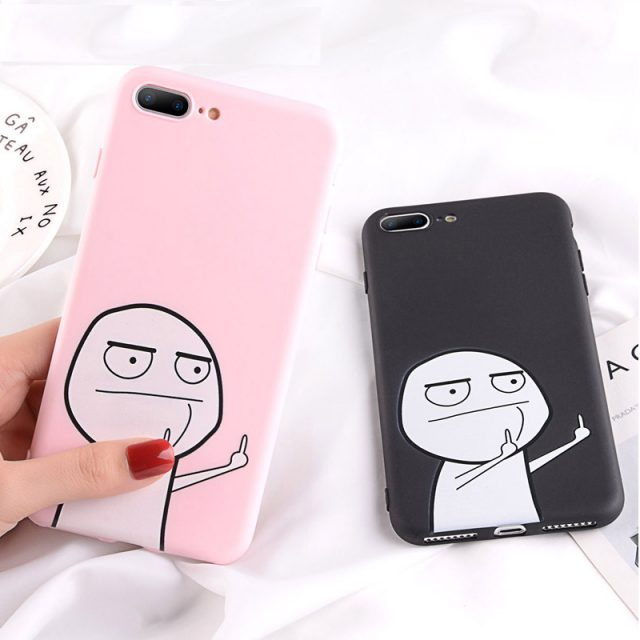 Lovebay etui dla iPhone 7 przypadku śmieszne Finger dla iPhone 6 6 S 7 8 Plus 5 5S SE X XR XS Max silikonowy futerał na telefon miękka TPU powrót pokrywa Coque
