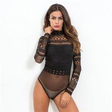 Gagaopt 2019 jesień koronkowe body kobiety czarny z długim rękawem Sexy body panie sukienka bodycon z wycięciami body kombinezon kombinezon