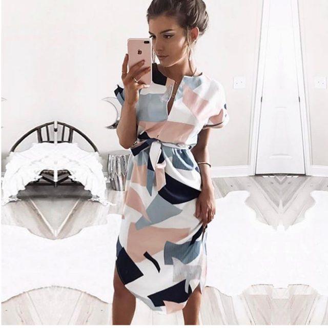2019 gorąca sprzedaż kobiet Midi sukienek nadruk geometryczny letnia plażowa sukienka boho luźna bluzka nietoperz sukienka Vestidos Plus rozmiar