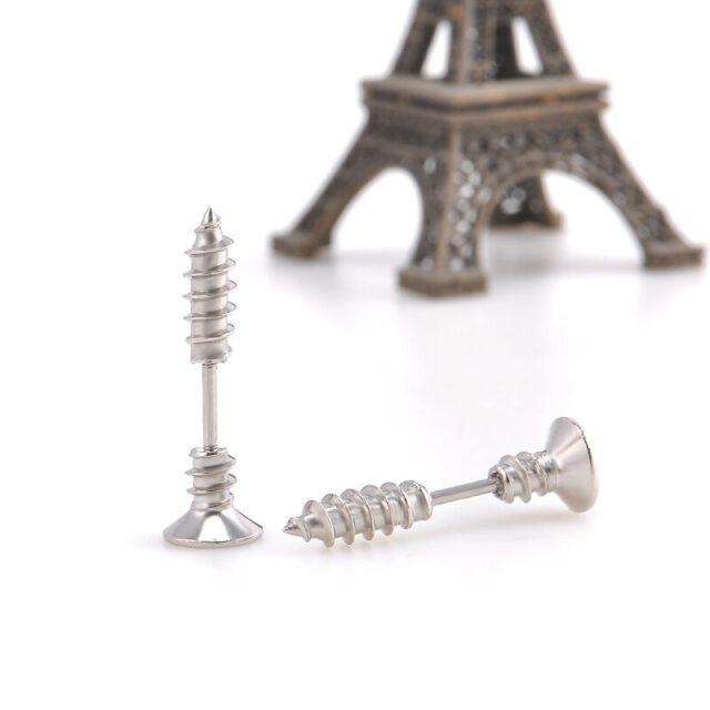 Kolczyki ze stali nierdzewnej w kształcie śrubki