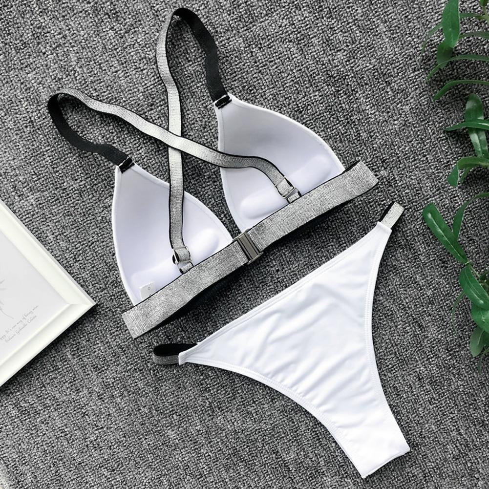 Lato Bikini kobiety Push-up usztywniany stanik bandażowy Bikini Set czarny biały olśniewający pasek strój kąpielowy trójkąt stroje kąpielowe kobiety kąpiel