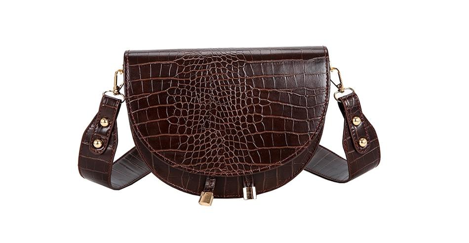 Luksusowa moda damska Crossbody torba krokodyl półkole torba siodło miękkie skórzane torby na ramię damskie torebki projektant