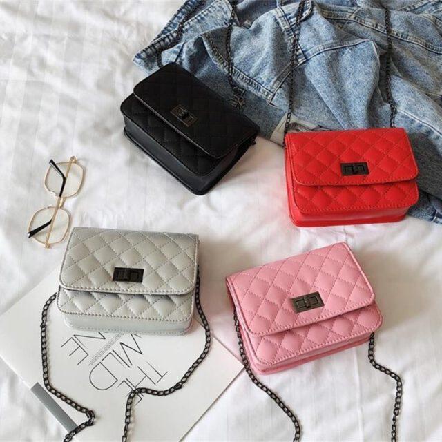 S.IKRR Mini torba na ramię Crossbody torby dla kobiet 2019 koreański nowe luksusowe torebki projektant rombowy łańcuch mała kwadratowa torba