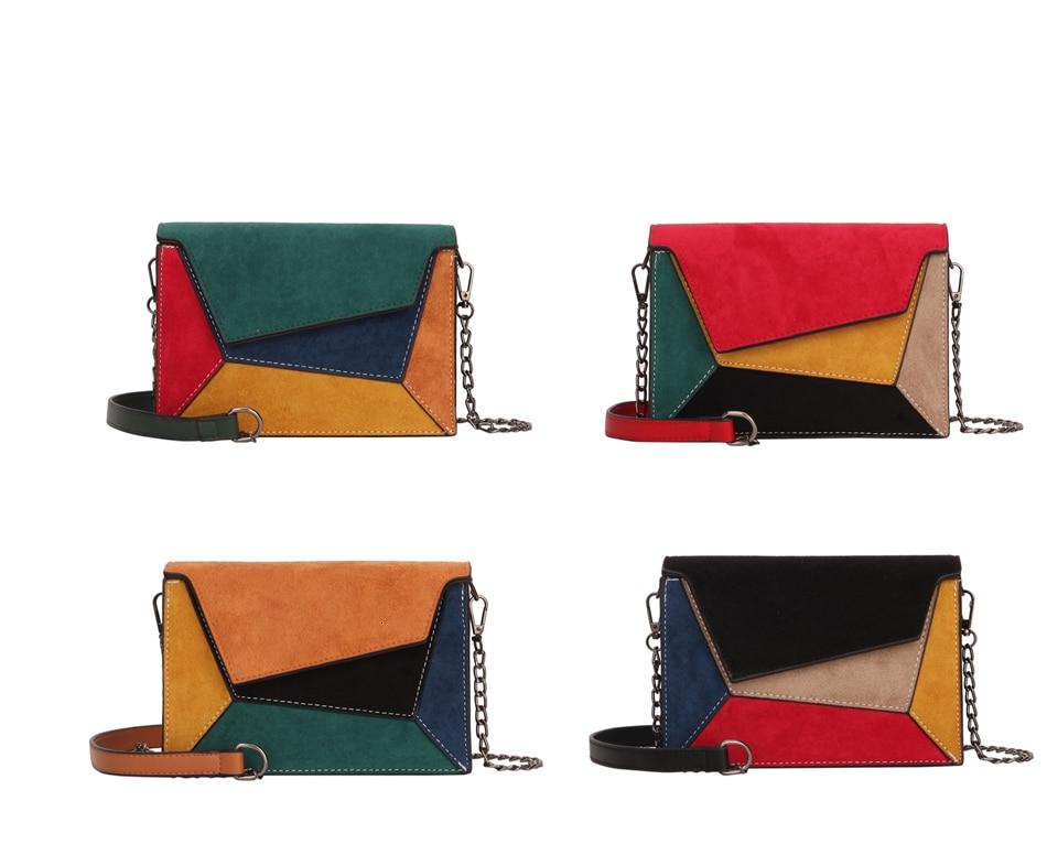 Herald modna, patchworka skórzana damska torba damska klapa criss-cross pasek z łańcuchem na ramię mała damska torba klapowa