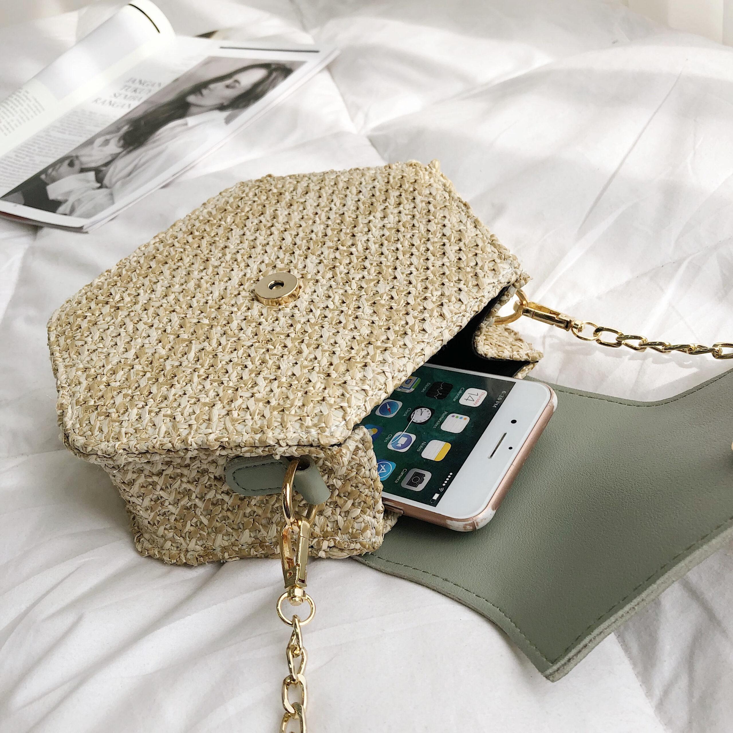 Hexagon Mulit Style słoma + skórzana torebka damska letnia torebka ratanowa ręcznie tkana plaża koło Bohemia torba na ramię New Fashion