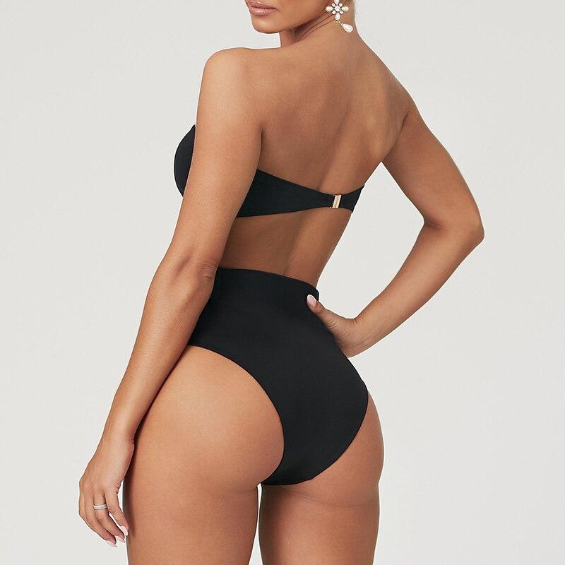 Wysoka talia Bikini 2020 Sexy czarne stroje kąpielowe kobiety strój kąpielowy wysokie nogi Bikini Bandeau zestaw pływanie dla strój kąpielowy kobieta stroje kąpielowe