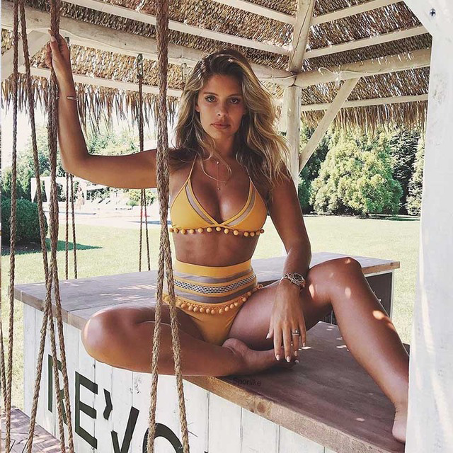 2020 Sexy Halter Retro Mesh drążą String Biquini strój kąpielowy kapielowe damskie stroje k pielowe damski stroj strój kąpielowy wysokiej talii Plus Size stroje kąpielowe kobiety Bikini