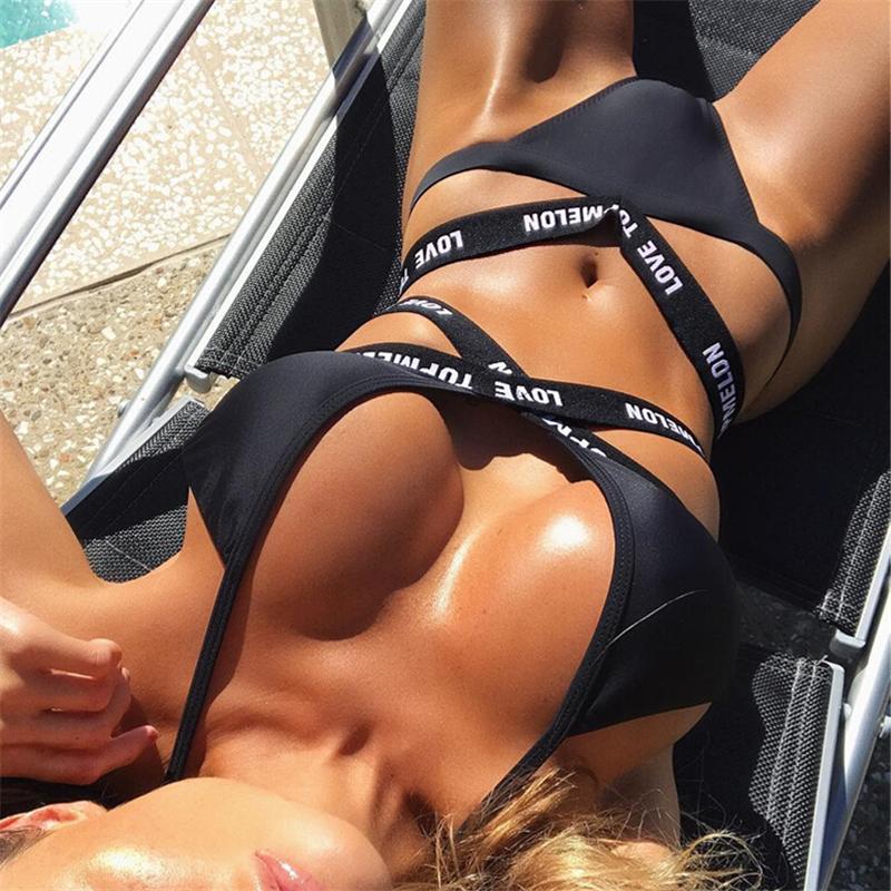 ITFABS kobieta seksowne stroje kąpielowe list miłosny czarny strój kąpielowy bikini bandaż trójkątny strój kąpielowy biqini prezenty maillot de bain femme