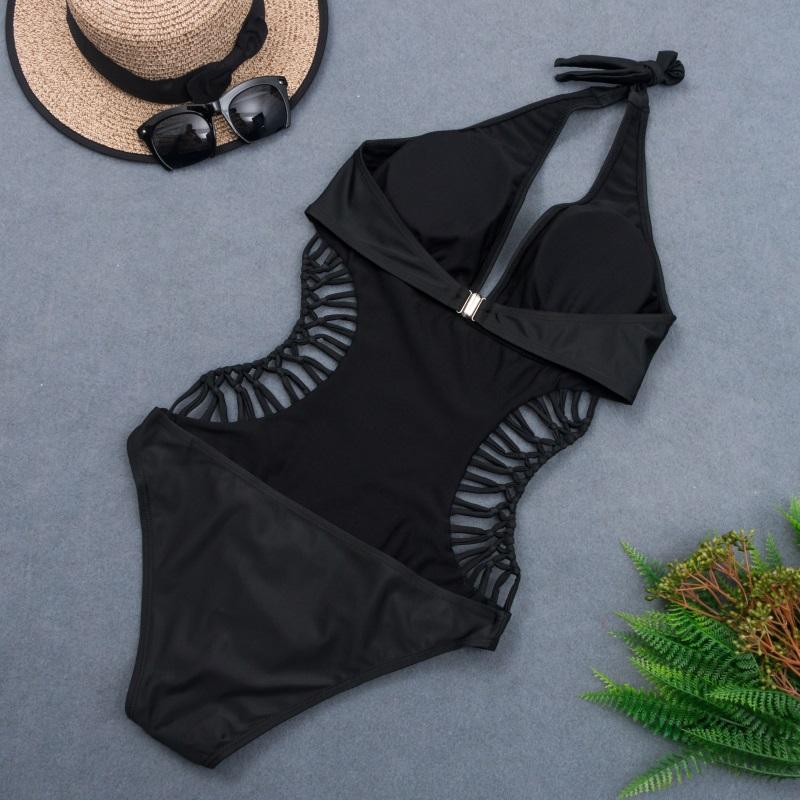 2020 seksowna biała bluzka z odkrytymi plecami wyciąć bandaż Trikini strój kąpielowy Monokini Push Up brazylijski stroje kąpielowe kobiety One Piece Swimsuit