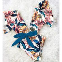 2020 Sexy jednoczęściowy strój kąpielowy kobiety stroje kąpielowe body z kwiecistym nadrukiem letni plażowy strój kąpielowy Monokini strój kąpielowy S ~ XL