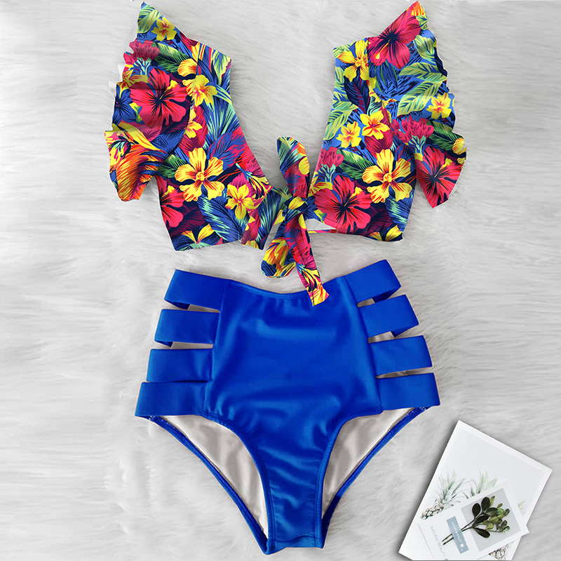 Sexy Bikini 2020 nowe podwójne ramię marszczony strój Bikini wysokiej talii stroje kąpielowe kobiety strój kąpielowy V-Neck strój kąpielowy Bikini pływać