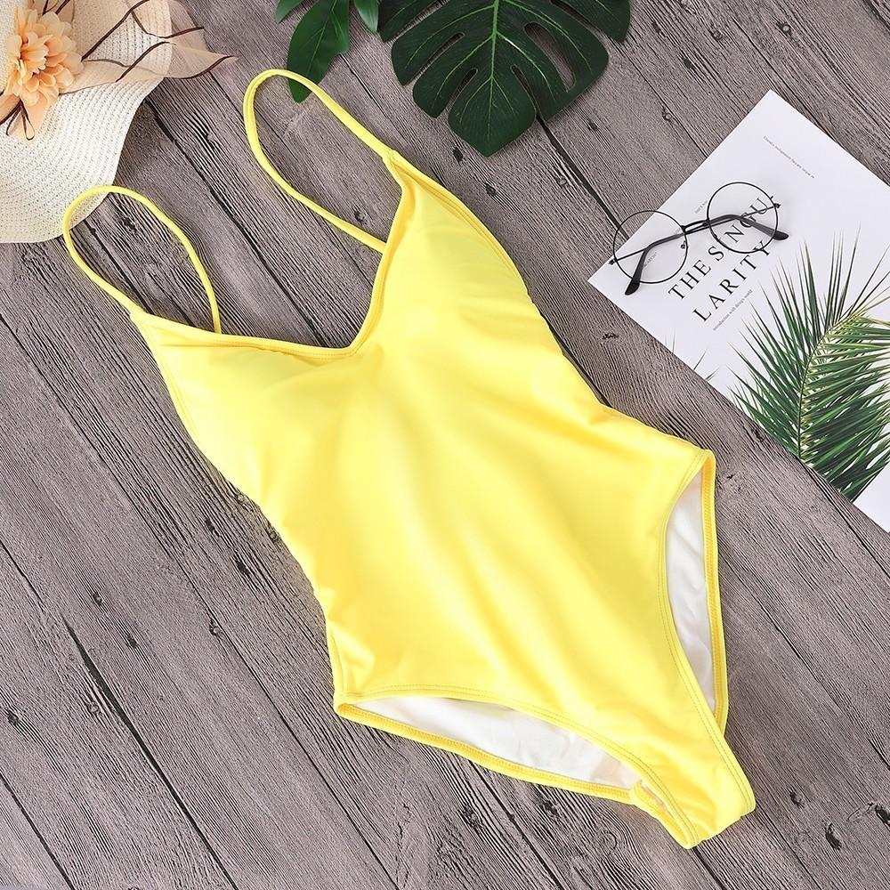Kobiety stałe bikini seksowna z wiązaniami jednoczęściowy Backless kostium kąpielowy damski kostiumy kąpielowe body bikini nowy kostium kąpielowy Monokini