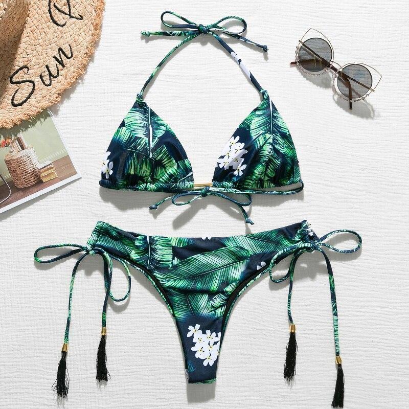 Brazylijskie bikini stringi 2020 nadruk liści strój kąpielowy Tassel stroje kąpielowe kobiety Sexy kostium kąpielowy damski Push up kąpiących nowy biquinis