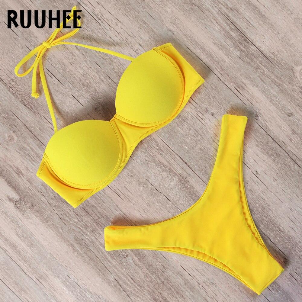 RUUHEE brazylijskie stringi Bikini Set 2020 kobiety Push Up Bikini jednokolorowy strój kąpielowy seksowne ramiączka stroje kąpielowe strój kąpielowy wysokie cięcie Biquini