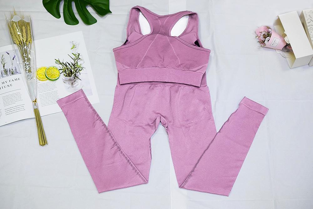 Bez szwu hyperflex workout zestaw legginsy sportowe i top zestaw stroje jogi dla kobiet odzież sportowa ubrania sportowe zestawy gimnastyczne 2 sztuka