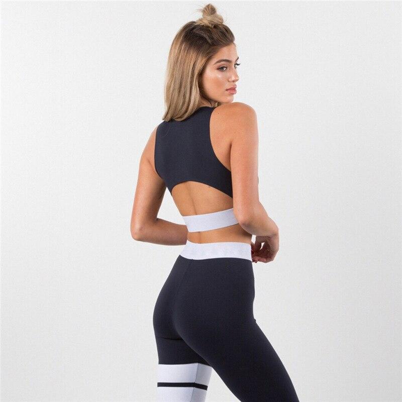 Damski dres solidny zestaw do jogi Patchwork Running Fitness Jogging T-shirt legginsy strój sportowy odzież sportowa na siłownię ubrania do ćwiczeń S-L