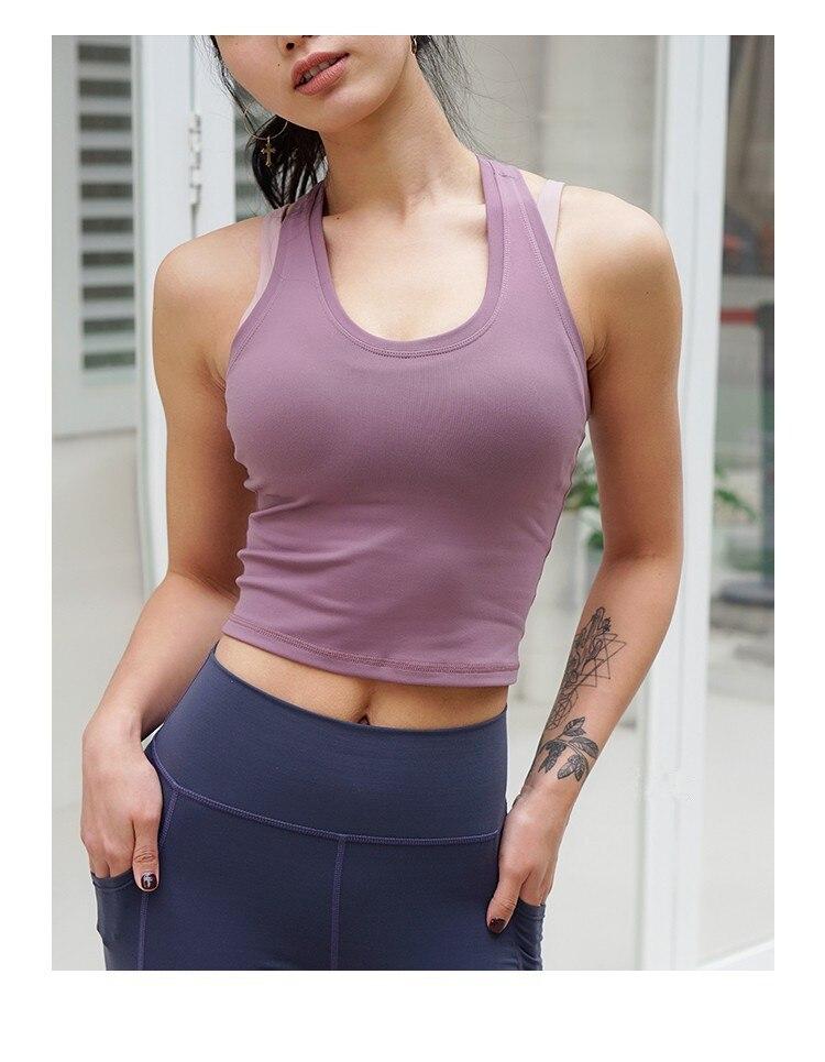 CretKoav kamizelka sportowa damska Running Fitness t-shirty Sexy krótki Top trening szybkoschnący Top do jogi elastyczne obcisłe ubrania gimnastyczne