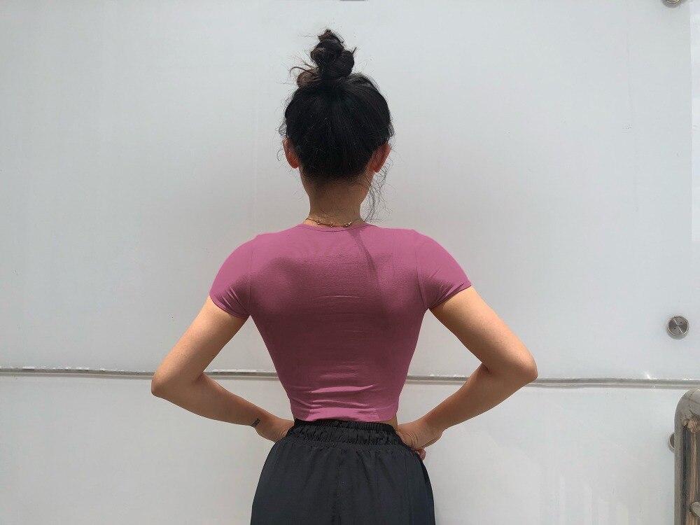 Joga Top bez szwu koszulka do jogi z krótkim rękawem Crop Top kobiety sportowa koszula Gym kobiety Top koszulka na siłownie kobiet 10 kolorów