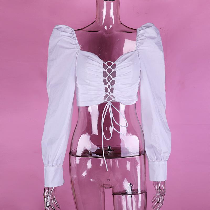 Yimunancy 2020 jesień z długim rękawem krótki Top kobiety moda sznurowany Top panie bufiaste rękawy biała bluzka Blusas Streetwear