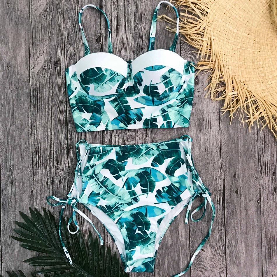 Wysokiej talii stroje kąpielowe kobiety strój kąpielowy 2020 Bikini bandaż zestaw Bikini wyściełany strój kąpielowy nowy liść druku Biquini Maillot de bain