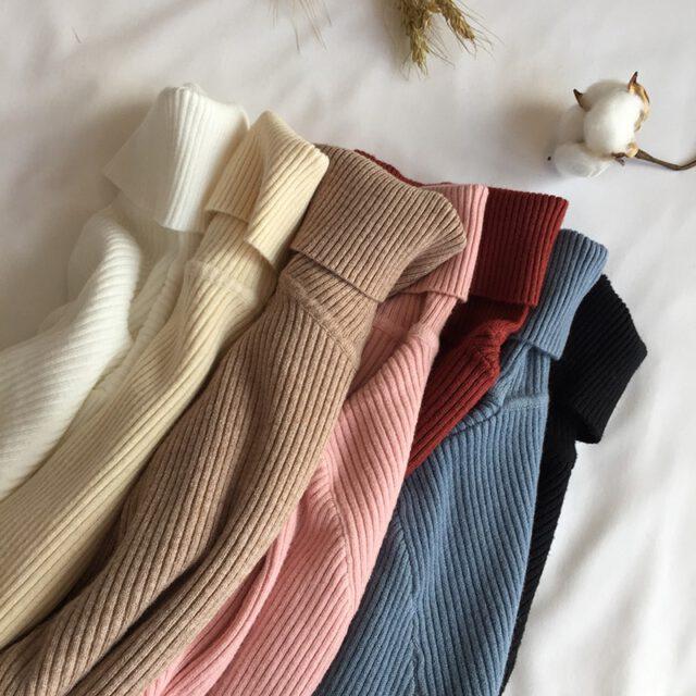 2020 jesienno-zimowy gruby sweter kobiet sweter z dzianiny prążkowany sweter z długim rękawem z golfem wąski sweter miękkie ciepłe Pull Femme