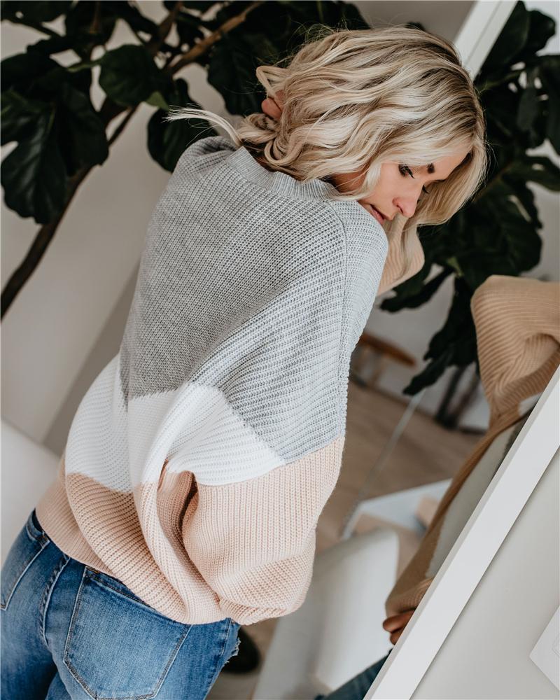 Luźny, dzianinowy sweter kobiet swetry z długim rękawem kobieta swetry swetry Casual 2020 jesień zima Color Block sweter w paski