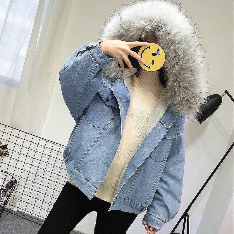 Elexs aksamitna gruba kurtka dżinsowa kobiet zimowy duży kołnierz z futra koreański lokomotywa kurtka ze skóry jagnięcej studentka krótki płaszcz 72510