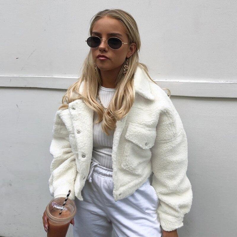 Darlingaga moda wełna jagnięca jesień płaszcz zimowy kobiety kurtka polar kudłaty ciepłe przycięte kurtki płaszcz Outwear jednorzędowy