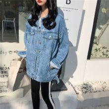 Damska kurtka dżinsowa 2020 koreański styl jednokolorowa na co dzień niebieskie kurtki jesień plus rozmiar luźne jeansy płaszcze damskie