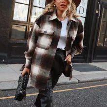 Vintage women 2020 z długim rękawem płaszcze wełniane moda damska gruby płaszcz w kratę kobieta streetwear eleganckie dziewczyny kurtka szeroka chic