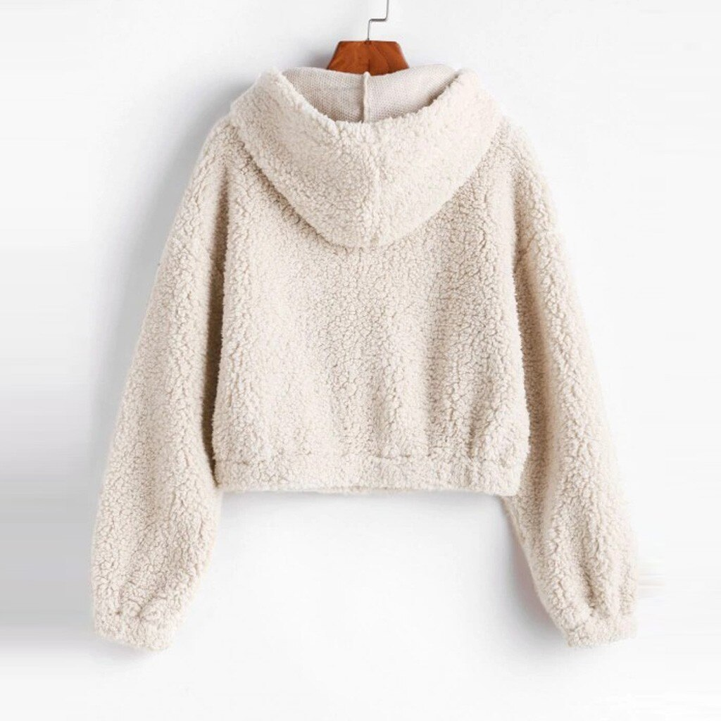 Kobiety krótki Top bluzy z kapturem jednolity, na zamek z długim rękawem pluszowe bluza z kapturem polar z kapturem ciepła bluza z kapturem przycięte topy 2020 jesień zima