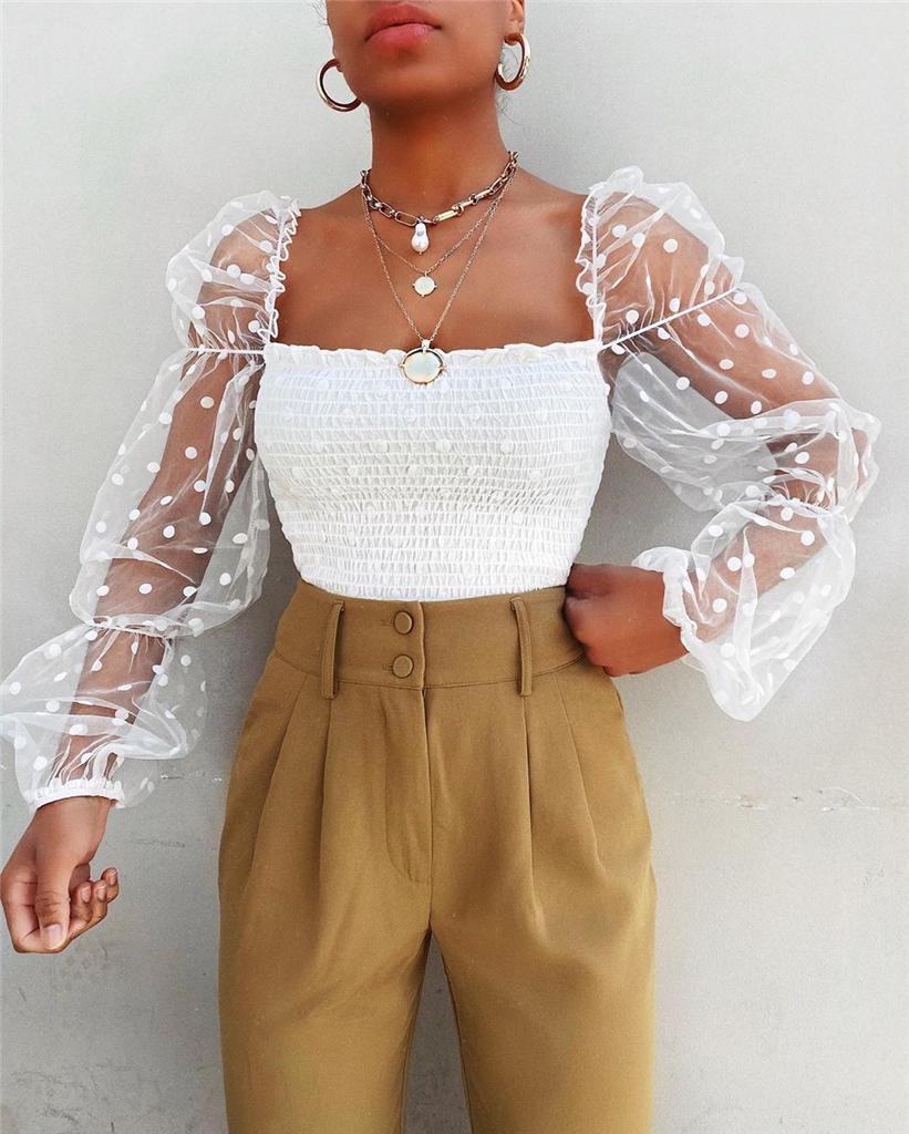 Kobiety kwadratowy kołnierzyk bluzka 2020 New Arrival kobieta lato Puff wzburzyć koszula z długim rękawem biały czarny Casual bluzka z fałdami topy