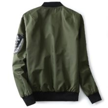 Grandwish Bomber Jacket mężczyźni Pilot z łatkami zielony zarówno boczne nosić cienka kurtka pilota w stylu Bomber mężczyźni kurtka wiatrówka mężczyzn, DA113