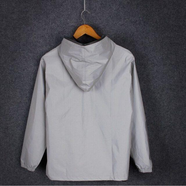 Męska 3M pełny kamizelka odblaskowa światła bluzy z kapturem damskie kurtki Hip-Hop wodoodporna wiatrówka z kapturem Streetwear płaszcze mężczyzna 4XL 5XL