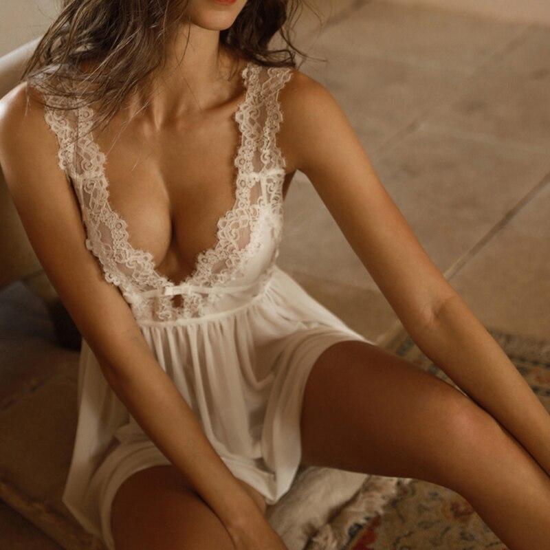 CINOON lato kobiet bielizna nocna dekolt seksowna koszula nocna Casual koszula nocna wygodne koronki piżamy jednolity kolor bifurkacja bielizna nocna