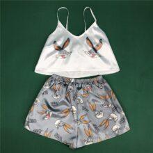 Kreskówka zwierzęta drukuj piękne piżamy odzież domowa lato V Neck Sexy piżamy kobiety Spaghetti pasek luźne Pijama Satin Femme Cat