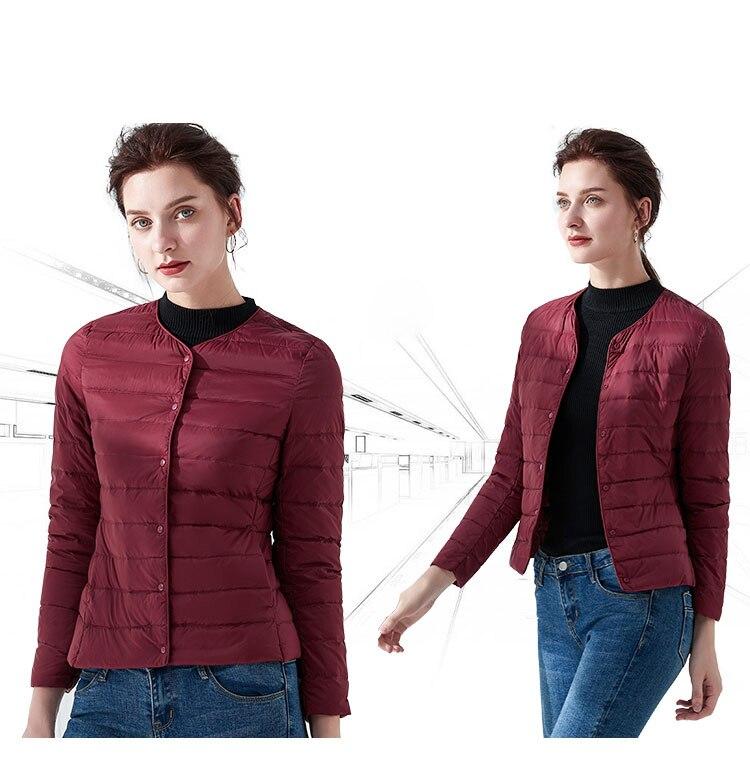 Kobieta ultralekka kurtka puchowa przenośne kurtka na co dzień płaszcz z kaczego puchu ciepła Parka lekka kurtka