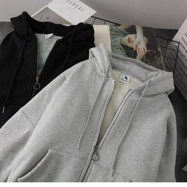 Z kapeluszem bluzy damskie grubsze zimowe ciepłe miękkie proste podstawowe rozpinane nastolatki odzież wierzchnia bluza z kapturem koreańskie popularne modne ubrania damskie