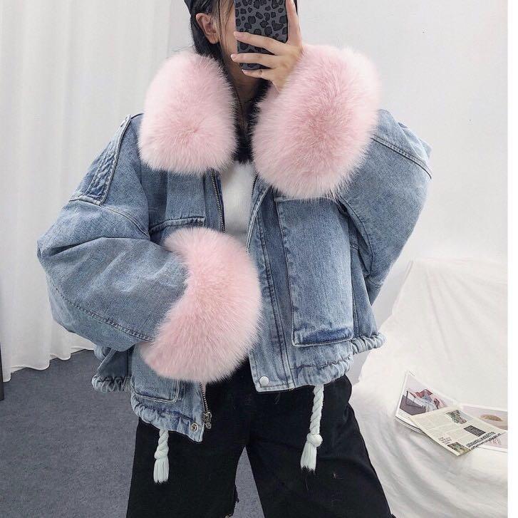 Luzuzi 2020 zima luźny dżins kurtka kobiety ponadgabarytowych futro kołnierz oraz aksamitne wyściełane kurtki w stylu Vintage bawełna gruby ciepły płaszcz dżinsowy