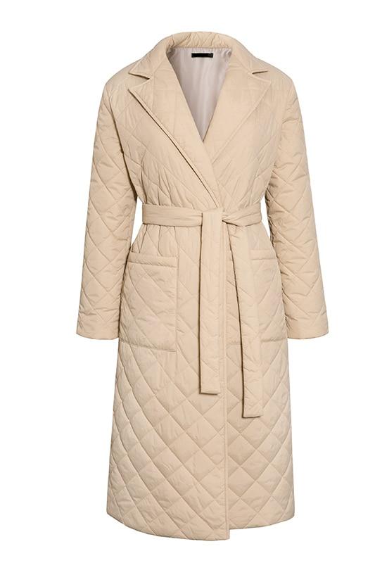 Simplee długi prosty płaszcz zimowy z wzorem w romby Casual sashes women parki głębokie kieszenie dopasowany kołnierz stylowa odzież wierzchnia