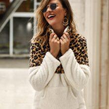 2019 zimowy sweter polarowy moda wzór lamparta, patchworkowa puszyste grube swetry ciepłe pullowery na suwak kobiety zimowy płaszcz Sherpa topy