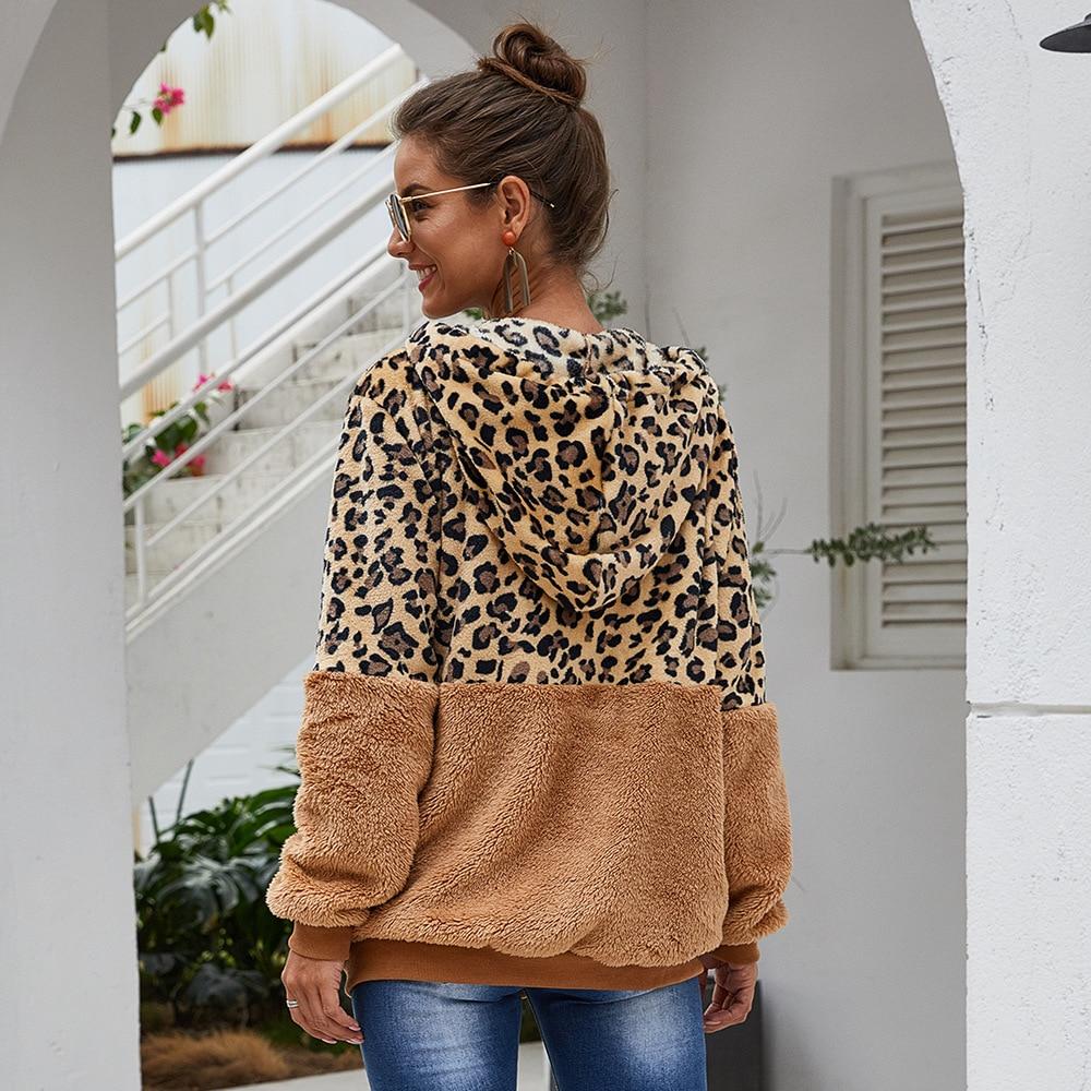 Jesienne zimowe bluzy damskie z kapturem bluzy z kapturem z motywem lamparta w stylu Casual, na zamek błyskawiczny z długim rękawem bluza z kapturem modny Top ciepły płaszcz Polerones Mujer