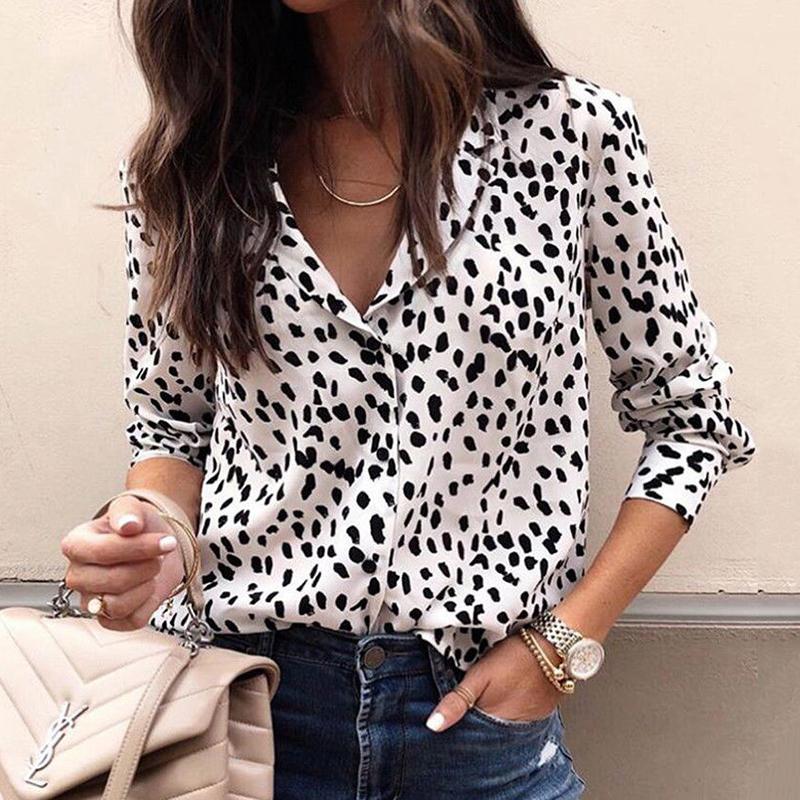 Moda damska z długim rękawem bluzka lampart V neck koszula panie OL Top imprezowy Dames Streetwear blusas femininas elegante Plus rozmiar