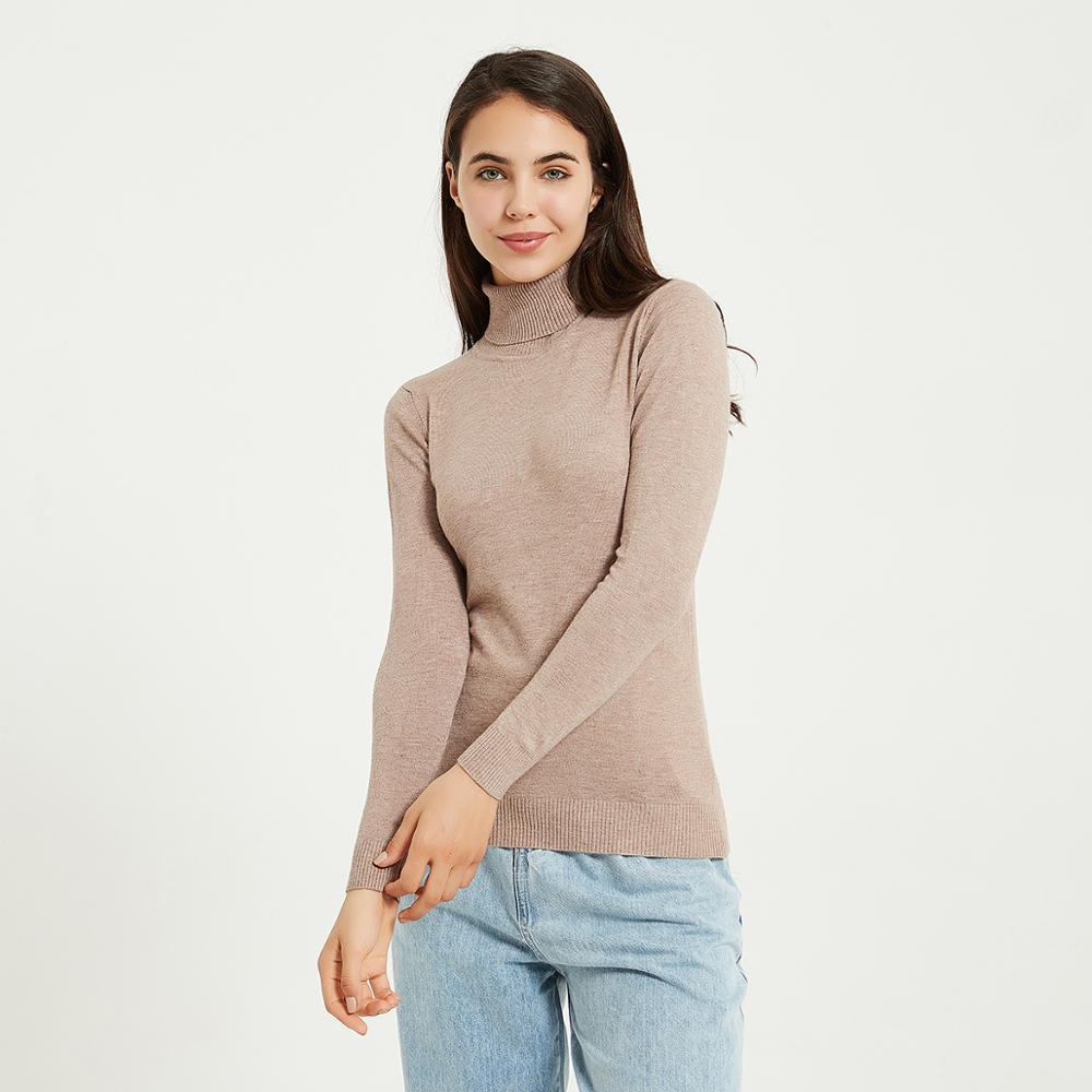 Wixra sweter z dzianiny i sweter bluzki z golfem swetry swetry w stylu Casual damski z długim rękawem cały mecz elastyczny sweter