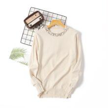 2020 nowa jesienno-zimowa damska Temperament swetry i swetry z długim rękawem casual sweter z perełkami slim dzianinowe swetry sweter