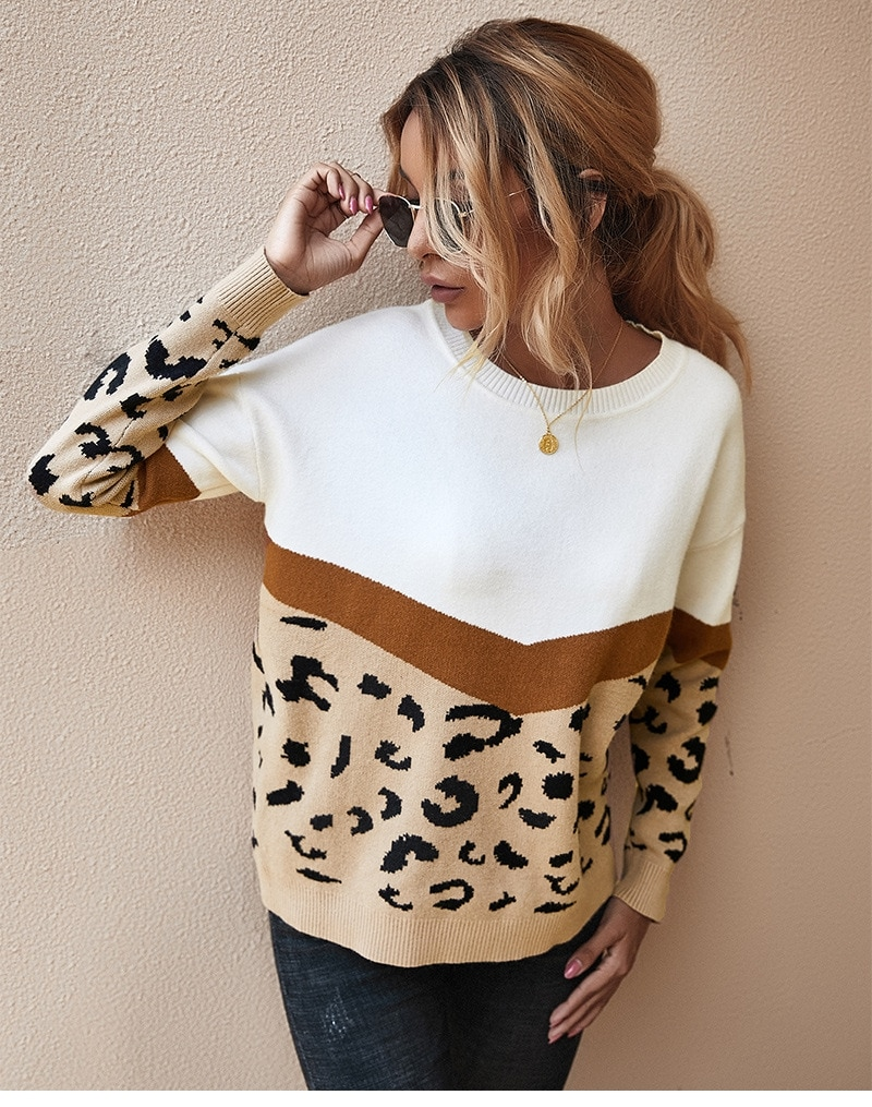 Moda wzór lamparta, patchworkowa jesienno-zimowa 2020 damska dzianinowa sweter damska O-neck pełna bluza z kapturem Top Khaki Brown