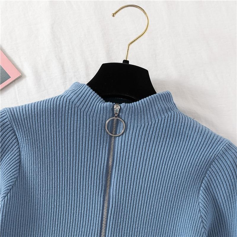 Zipper sweter z golfem swetry damskie 2020 zimowe ubrania damskie swetry jesienny sweter sweter z dzianiny damskie Top Woman swetry