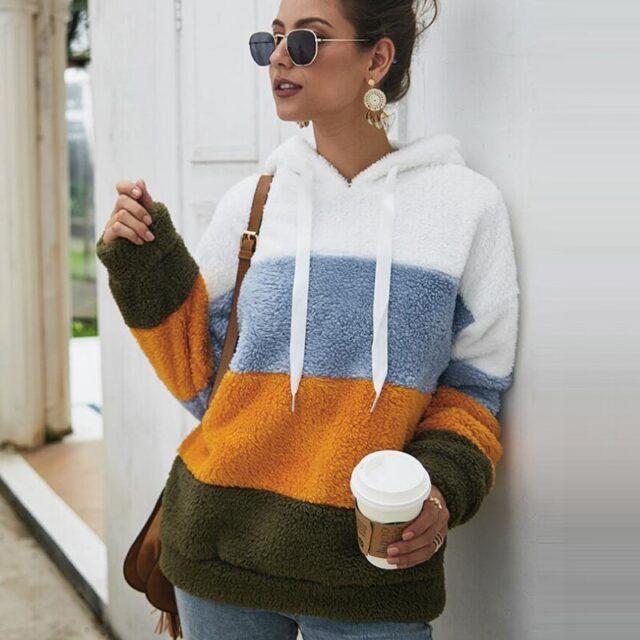 Lossky kobiety bluzy bluza w paski Patchwork panie z długim rękawem Pullover pluszowe góry jesień zima kobiet ciepłe odzież 2020
