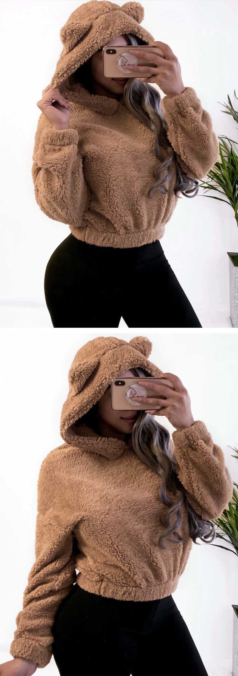 Niedźwiedź uszy ciepłe pluszowe bluzy z kapturem kobiety jesień ramię krótki Top Teddy 2019 modna sweter bluza Kawaii Harajuku bluza z kapturem
