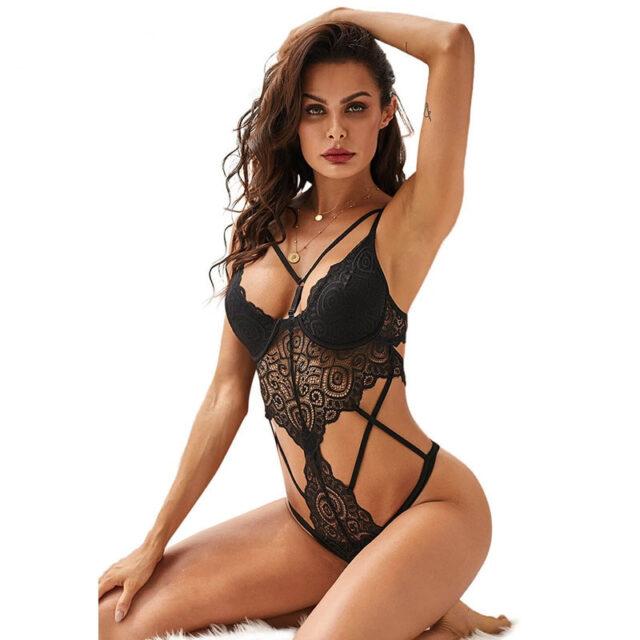 SEBOWEL 2020 damskie czarne Push Up koronkowe Body bielizna Sexy Hollow Out kobiece ciało topy ubrania damskie Lingeries z kubkami